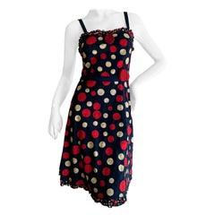 Moschino Cheap & Chic Vintage Polka Dot Dress in Navy Eyelet Cotton