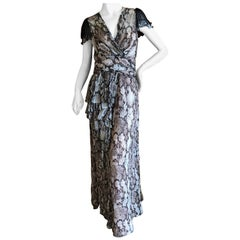 Moschino Cheap & Chic Vintage Silk Reptile Print Dress with Side Flounce