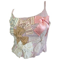 Moschino Cheap & Chic Whimsical Vintage Homespun Folk Stitched Bow Corset