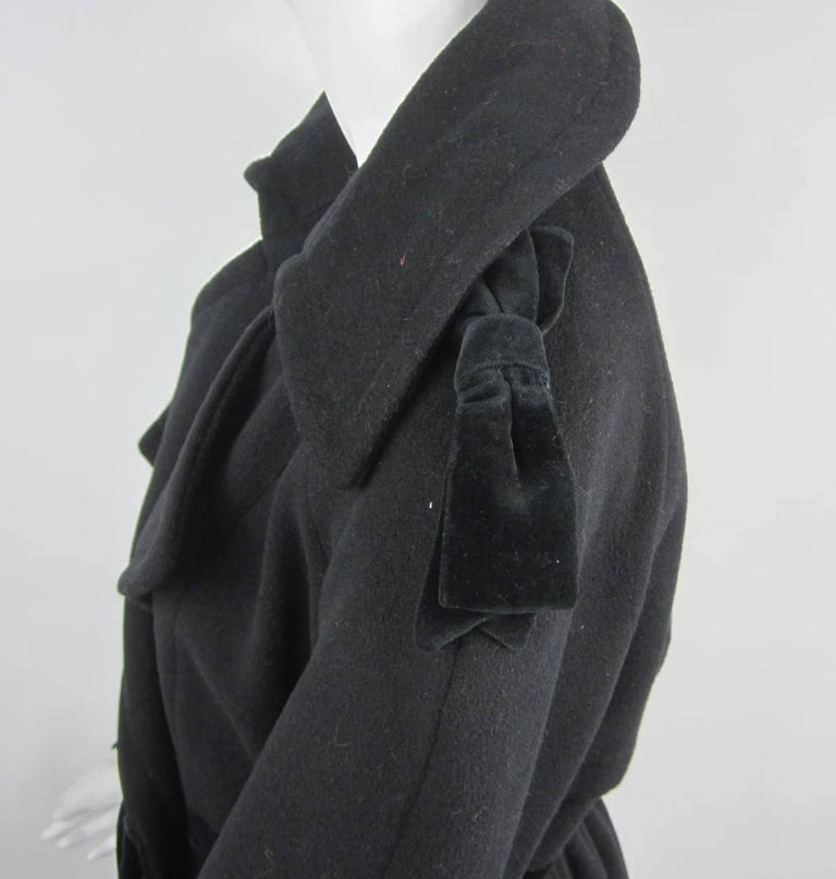 Black Moschino Cheap & Chic Wool Coat Bows & Bows  For Sale