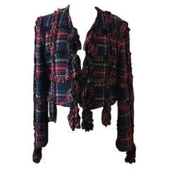 Moschino Cheap Chic Wool Plaid Ruffle Jacket