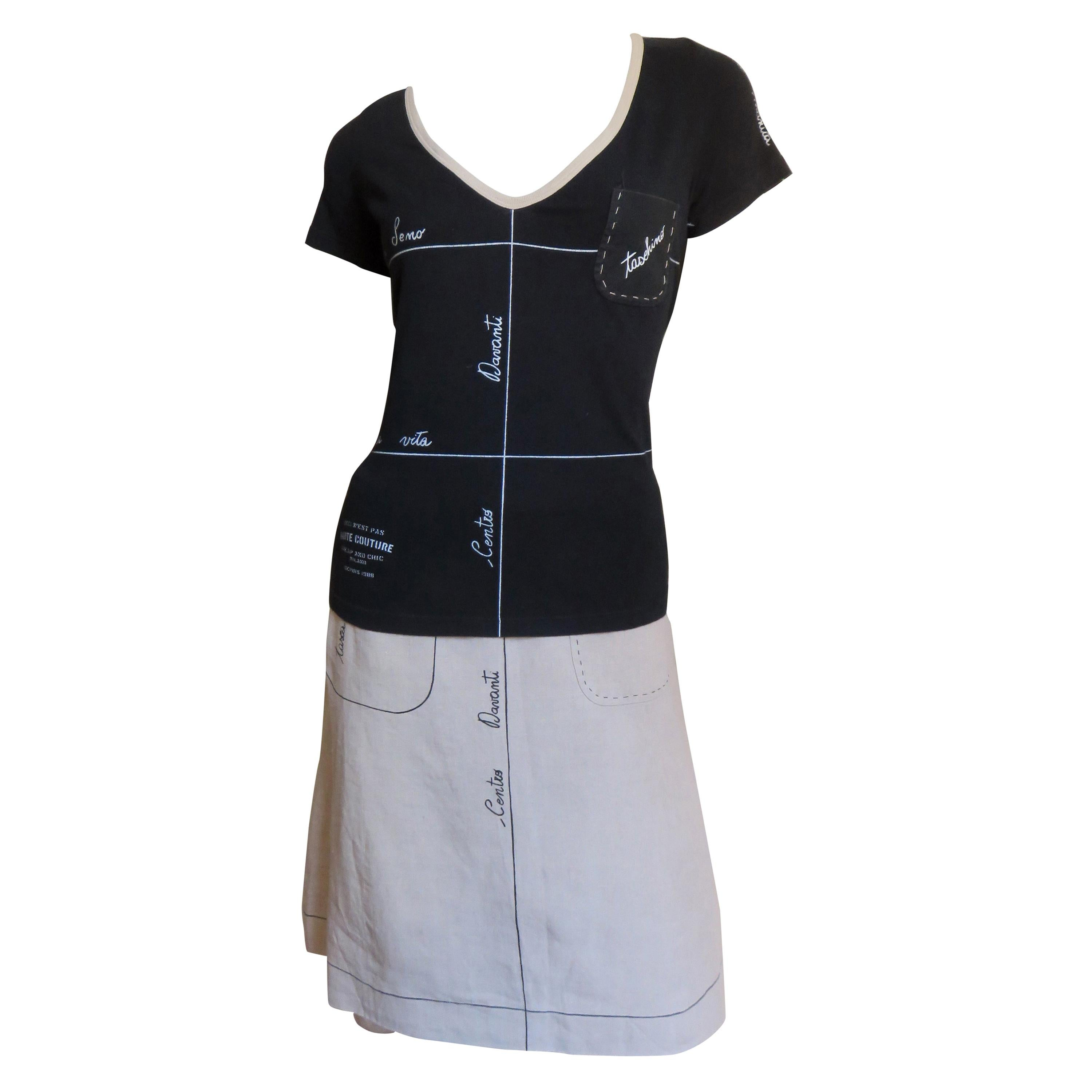 Moschino Color Block Linen Skirt and T Shirt with Italian Words
