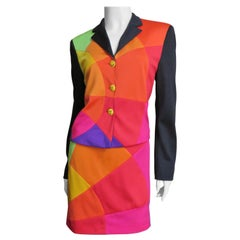 Moschino Color Block Skirt Suit