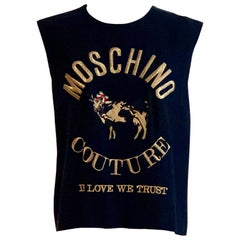 Moschino Couture 1980s Cow Shirt In Love We Trust Embroidered Top Navy and Gold