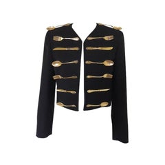 Moschino Couture 1989 Show Off Collection Black Wool Dinner Jacket