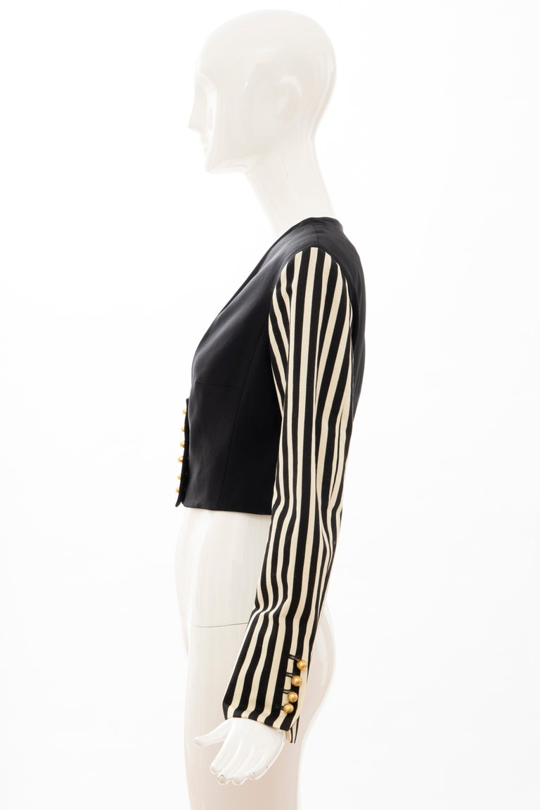 Moschino Couture Black Cropped Button Front Jacket Striped Sleeves, Circa: 1994 For Sale 6