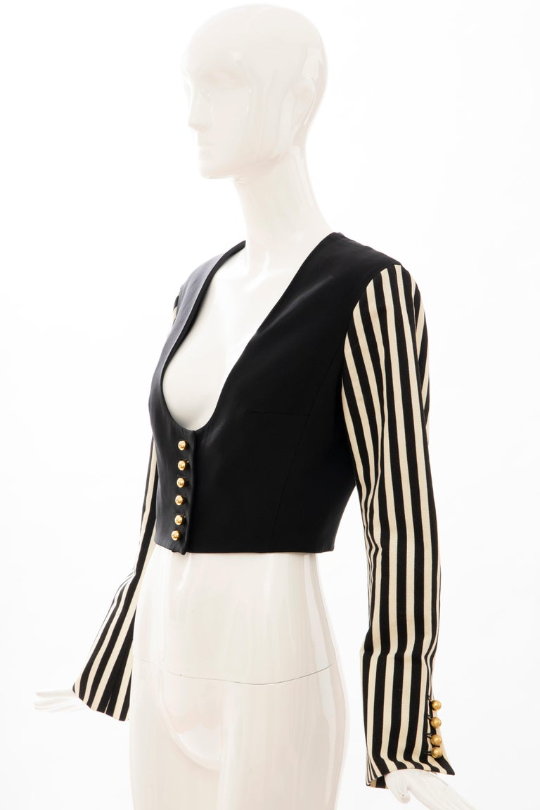 Moschino Couture Black Cropped Button Front Jacket Striped Sleeves, Circa: 1994 For Sale 7