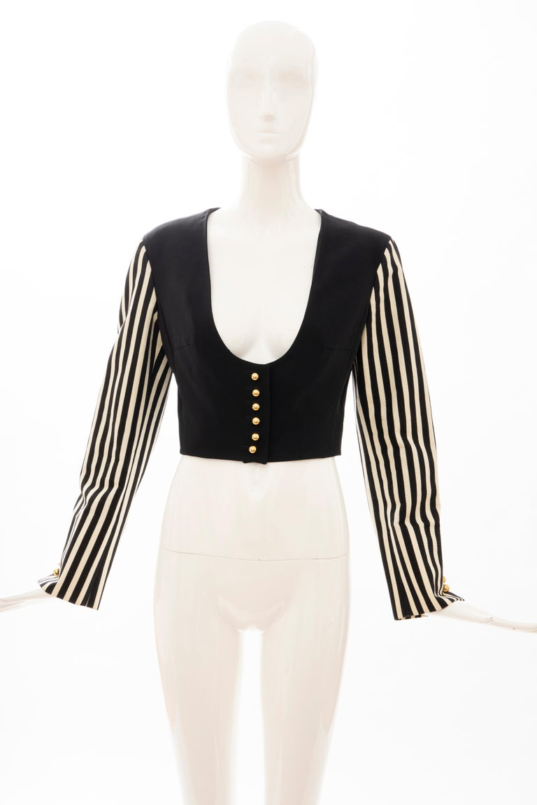Moschino Couture Black Cropped Button Front Jacket Striped Sleeves, Circa: 1994 For Sale 8
