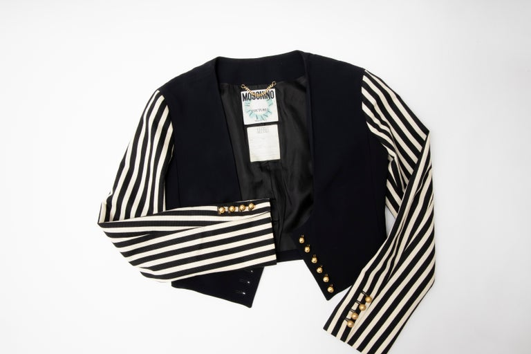 Moschino Couture Black Cropped Button Front Jacket Striped Sleeves, Circa: 1994 For Sale 9
