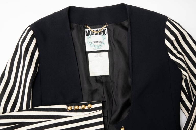 Moschino Couture Black Cropped Button Front Jacket Striped Sleeves, Circa: 1994 For Sale 10