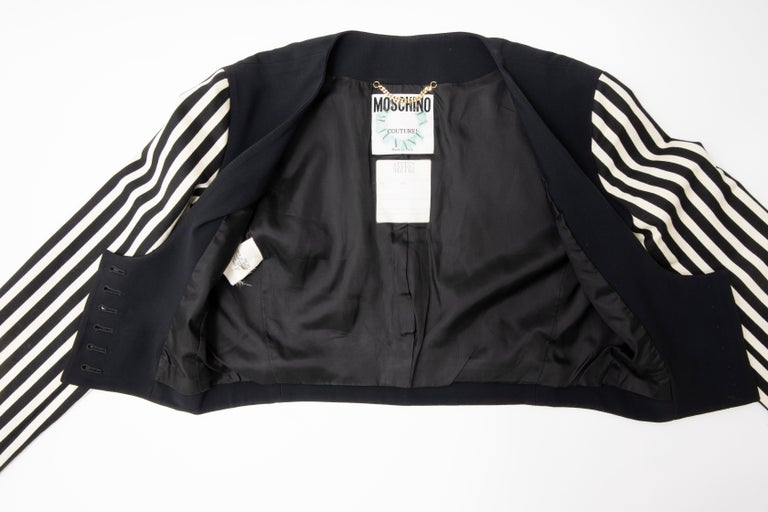 Moschino Couture Black Cropped Button Front Jacket Striped Sleeves, Circa: 1994 For Sale 12