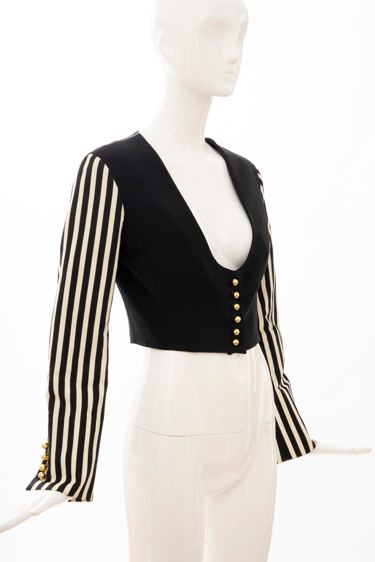 Moschino Couture Black Cropped Button Front Jacket Striped Sleeves, Circa: 1994 In Good Condition For Sale In Cincinnati, OH