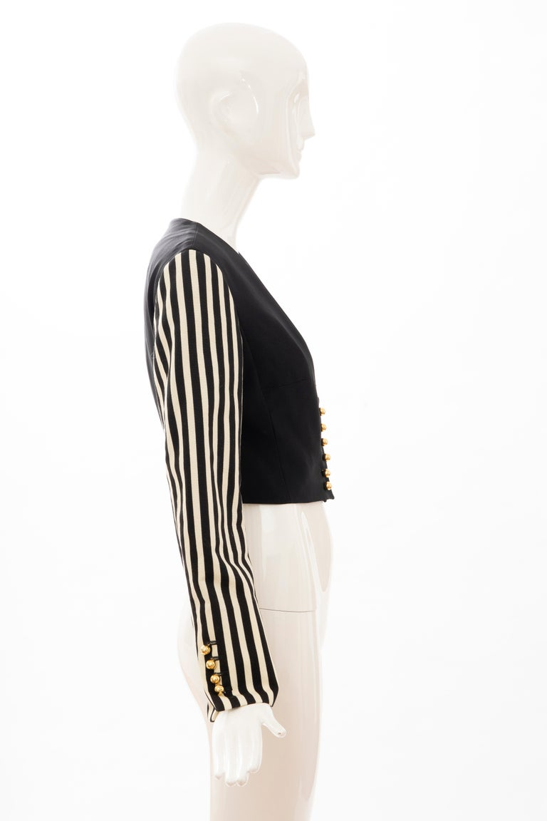 Women's Moschino Couture Black Cropped Button Front Jacket Striped Sleeves, Circa: 1994 For Sale