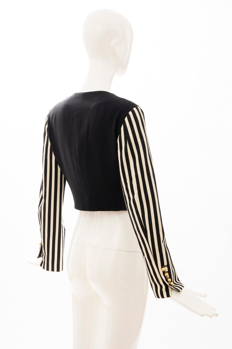 Moschino Couture Black Cropped Button Front Jacket Striped Sleeves, Circa: 1994 For Sale 1