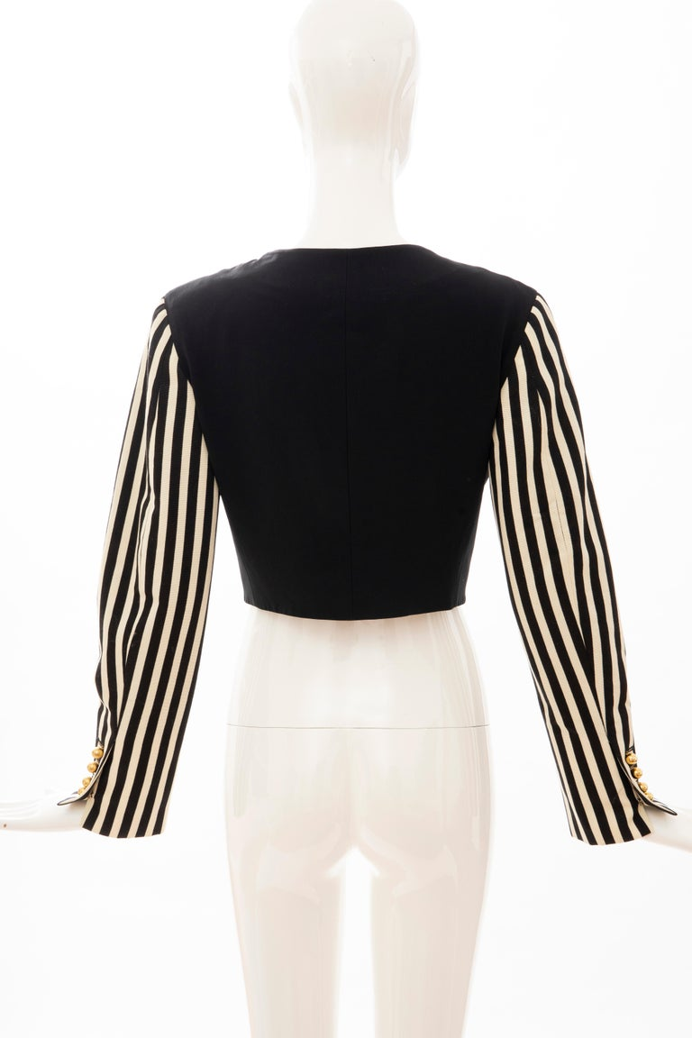 Moschino Couture Black Cropped Button Front Jacket Striped Sleeves, Circa: 1994 For Sale 2