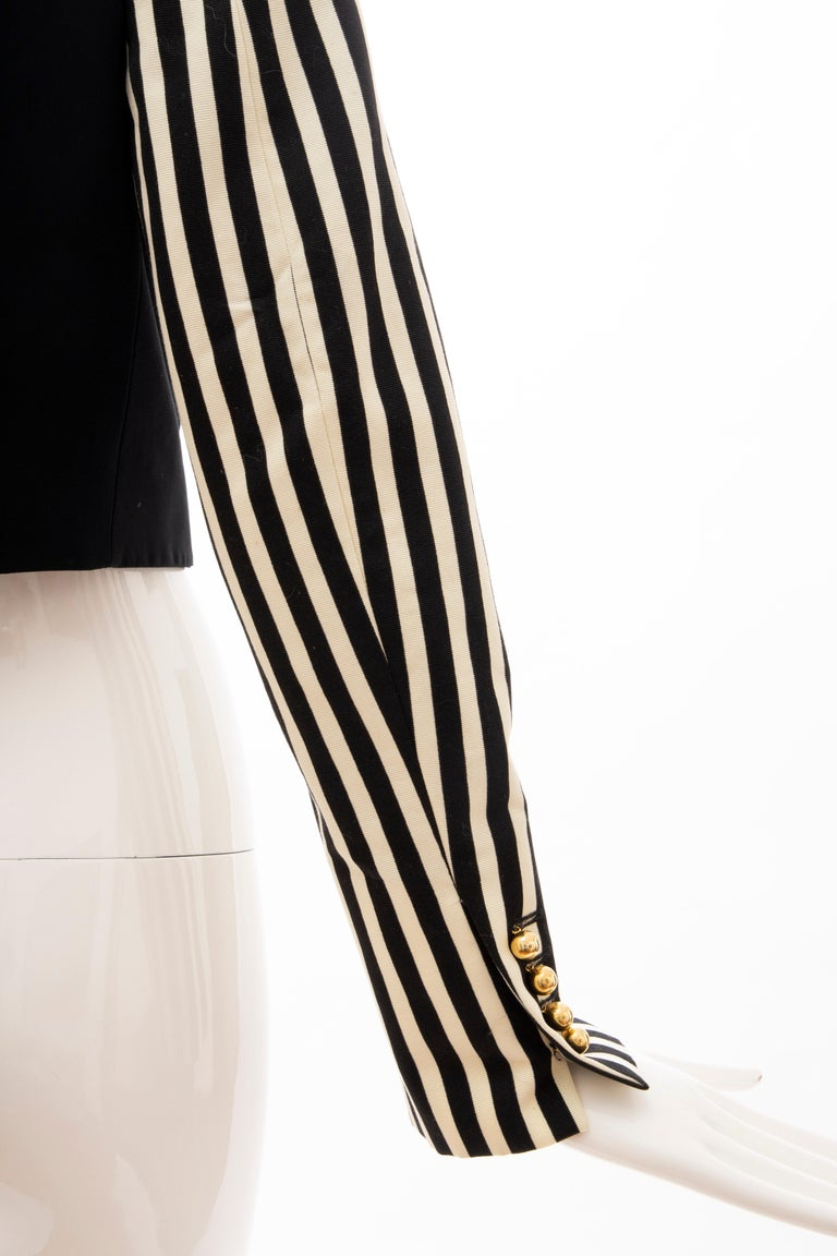 Moschino Couture Black Cropped Button Front Jacket Striped Sleeves, Circa: 1994 For Sale 3