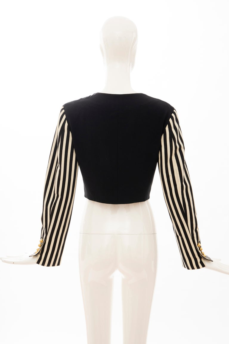 Moschino Couture Black Cropped Button Front Jacket Striped Sleeves, Circa: 1994 For Sale 4