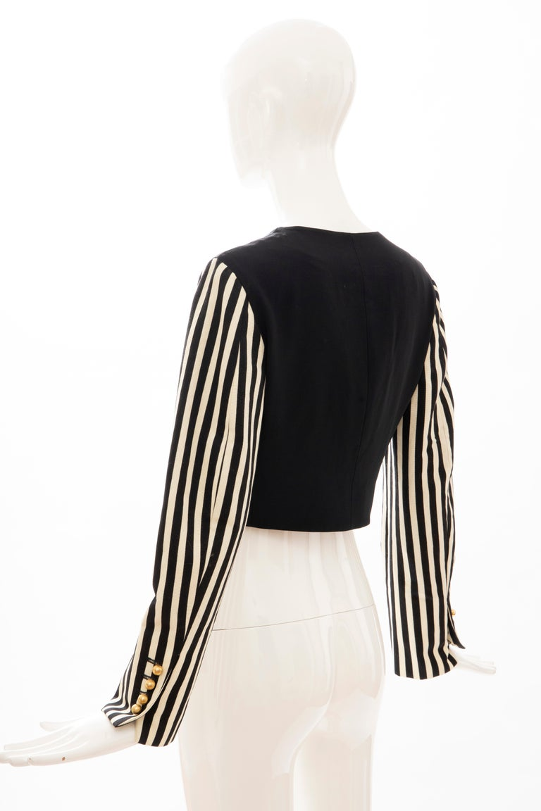 Moschino Couture Black Cropped Button Front Jacket Striped Sleeves, Circa: 1994 For Sale 5