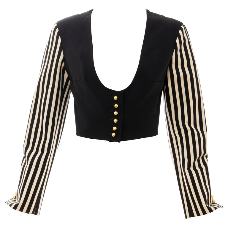 Moschino Couture Black Cropped Button Front Jacket Striped Sleeves, Circa: 1994 For Sale