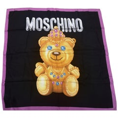 Moschino couture black gold bear silk scarf - foulard