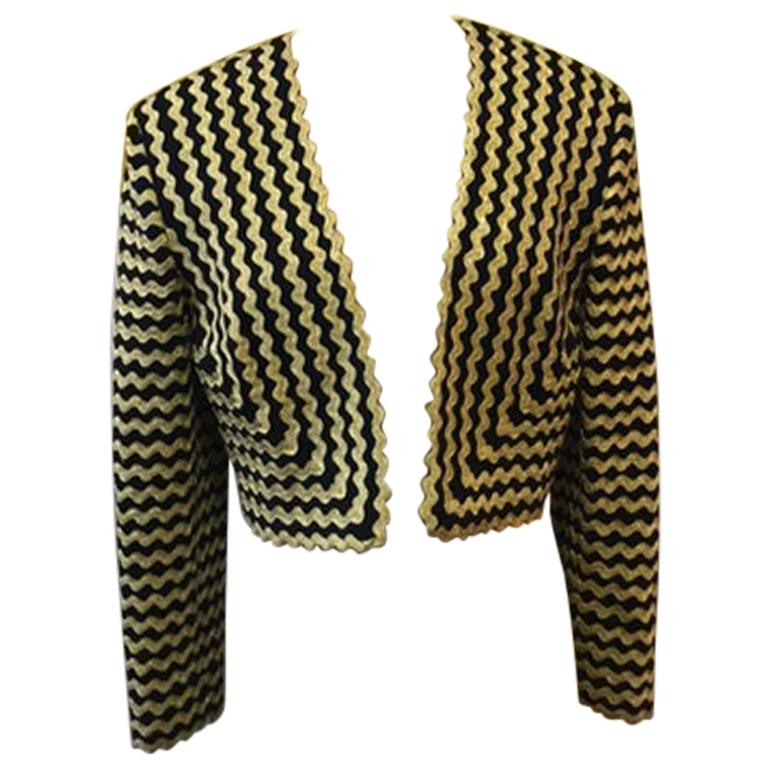 Moschino Couture Black Gold Rick Rack Crop Jacket