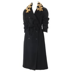 Moschino Couture Black Wool-Blend Coat with Gold Teddy Bears, Fall 2011.