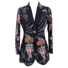 Moschino Couture Black Wool Tuxedo Jacket Graffiti 1990s