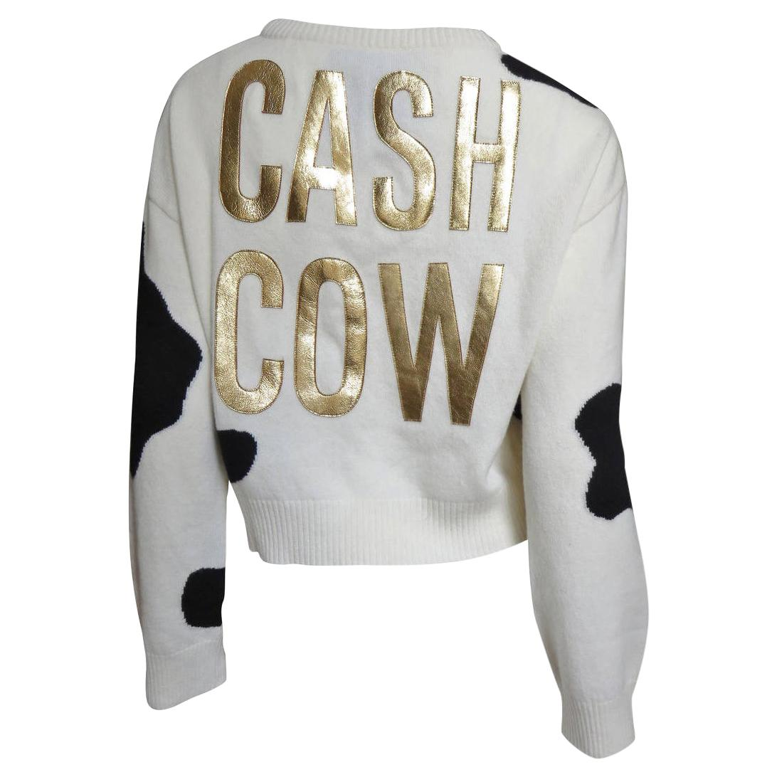 Moschino Couture Cash Cow Appliqued Cashmere Sweater