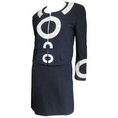 Moschino Couture Color Block Letter Applique Dress and Geometric Jacket