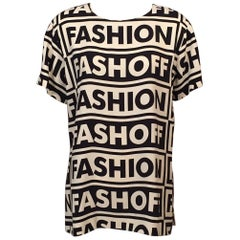Moschino Couture! Fashion Fashoff Tunic Top Cream and Black Print