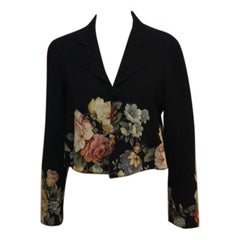 Moschino Couture Floral Black Wool Swing Jacket