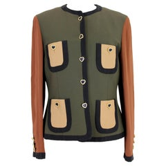 Moschino Couture Green Brown Patchwork Heart Jacket