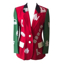 Moschino Couture Green Red Rome Blazer Vintage