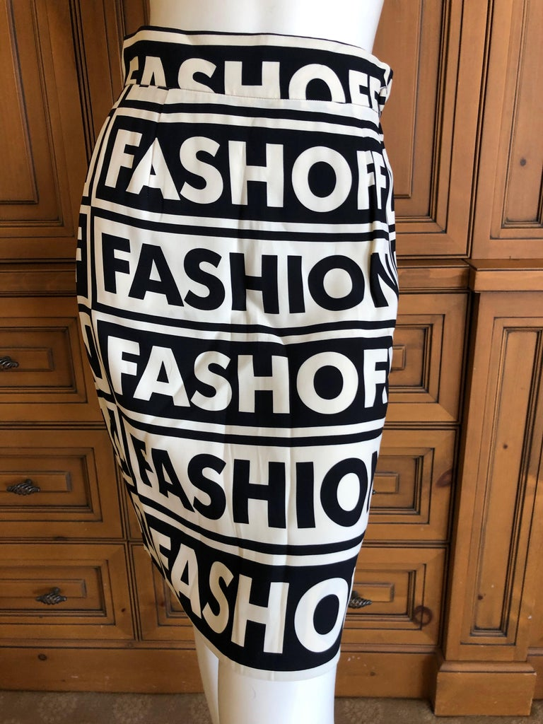 Gray Moschino Couture Iconic 1990 Museum Exhibited Fashion Fashoff Mini Skirt  For Sale