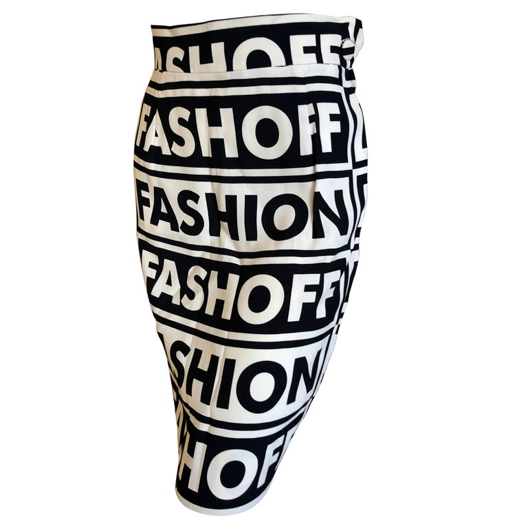 Moschino Couture Iconic 1990 Museum Exhibited Fashion Fashoff Mini Skirt  For Sale