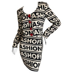 Moschino Couture Iconic 1990 Museum Exhibited Fashion Fashoff Mini Skirt Suit