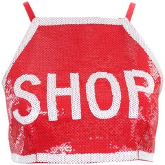 Moschino Couture Jeremy Scott Shop Sign Red & White Sequin Runway Crop Top