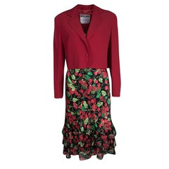 Moschino Couture Multicolor Cherry Print Bottom Ruffle Detail Dress and Blazer S