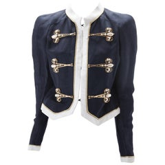 Moschino Couture Navy Linen Scissor Embellished Jacket, 1995.