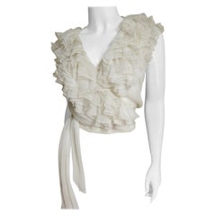 Moschino Couture New Ruffle Wrap Silk Top 1980s