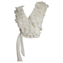 Moschino Couture New Wrap Ruffle Silk Top 1980s