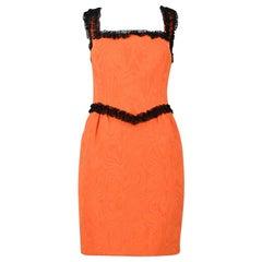 Moschino Couture Orange Moire Silk & Black Lace Trim Dress