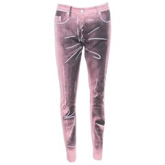 Moschino Couture Pink and Black Printed Slim Fit Jeans M