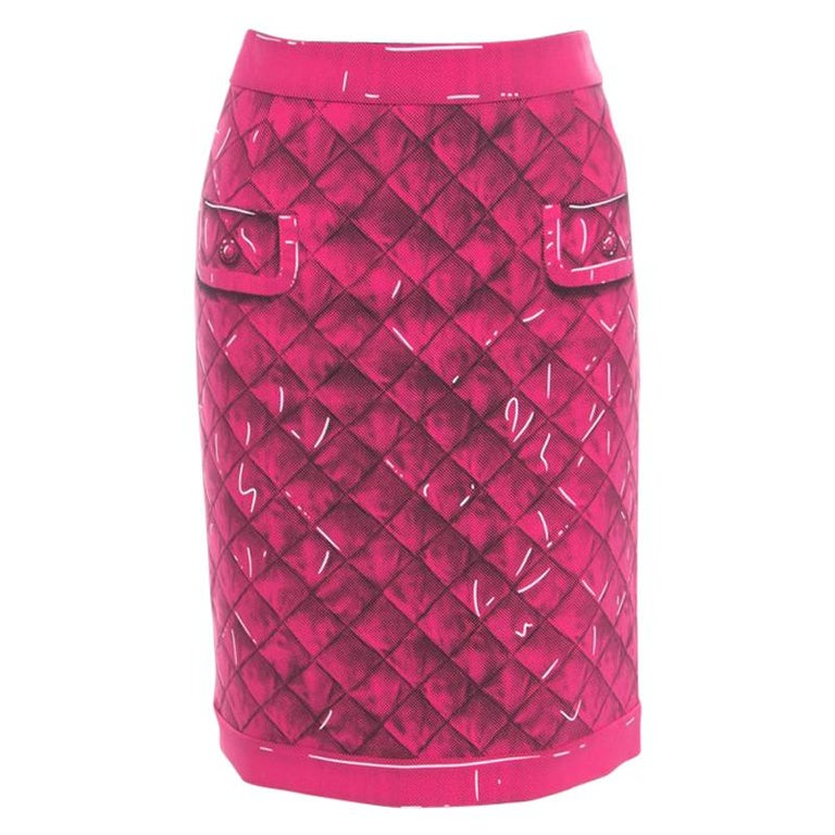80d8df75ee8 Moschino Couture Pink Trompe-L'oeil Printed Crepe Pencil Skirt M For Sale