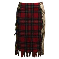 Moschino Couture Plaid Patchwork Skirt Pencil