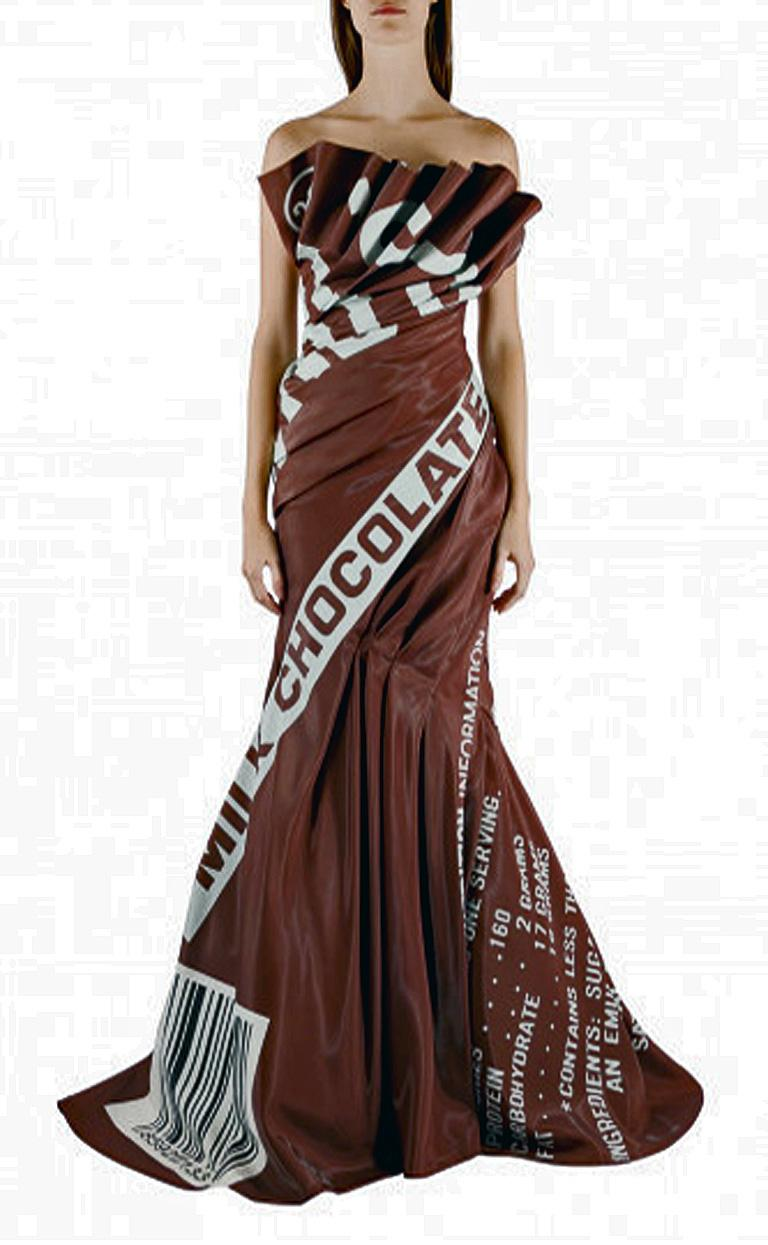 """Moschino Couture rare Hershey Chocolate Bar gown by Jeremy Scott for Moschino.   Re the Fall 2014 show, according to fashion reviewer, Tim Blanks, """"Scott's embrace of consumer culture in the name of Moschino was bright, brash, and"""