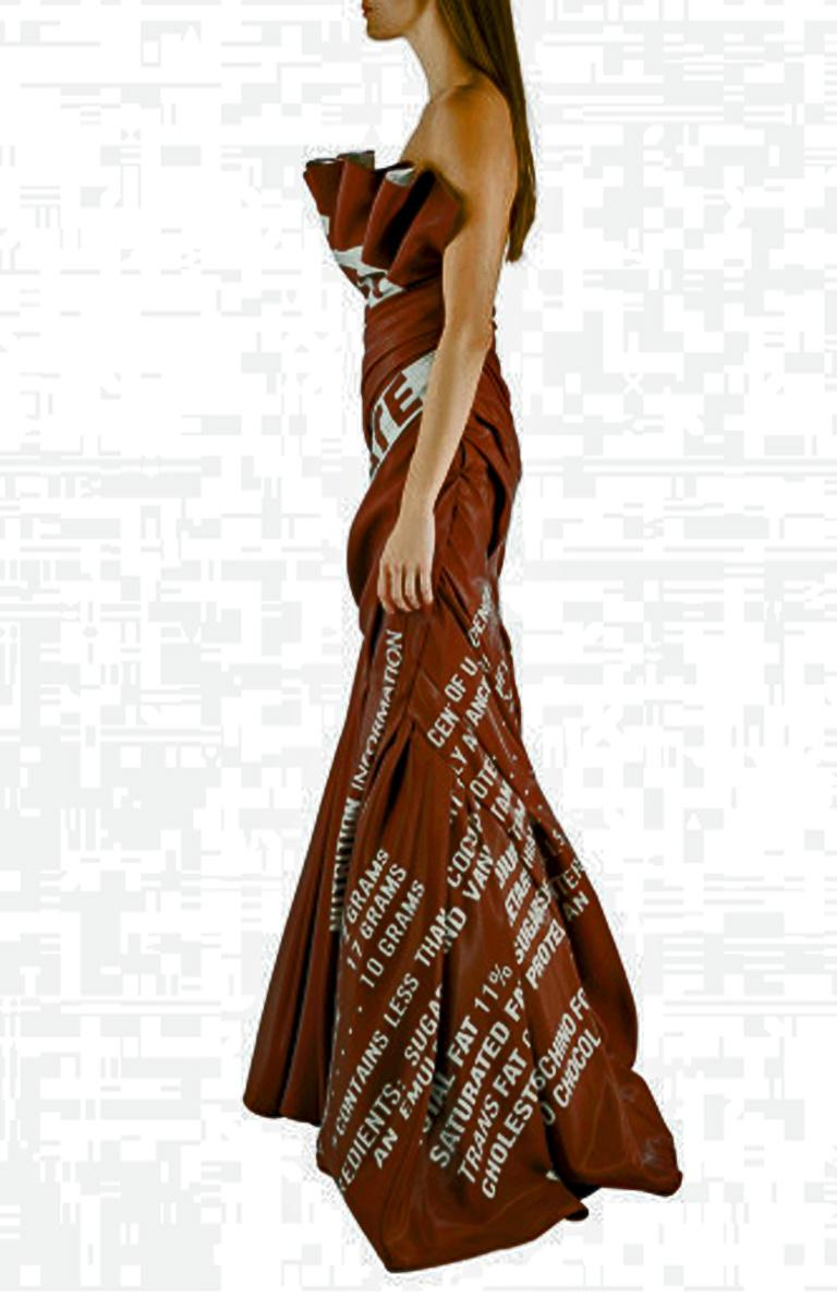 Moschino Couture Rare Hershey Chocolate Bar Runway Gown   NWT In New Condition For Sale In Los Angeles, CA