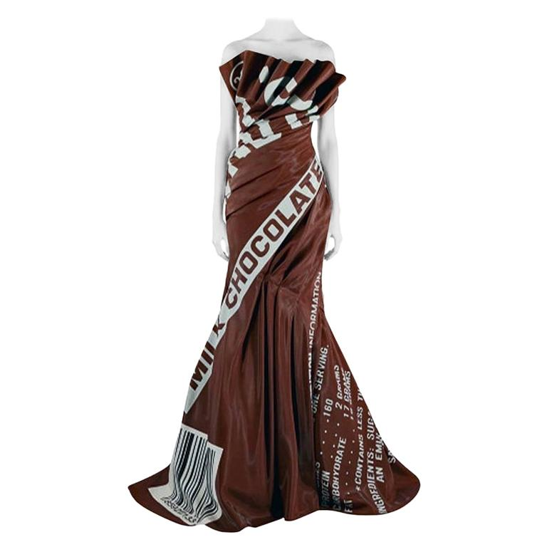 Moschino Couture Rare Hershey Chocolate Bar Runway Gown   NWT For Sale