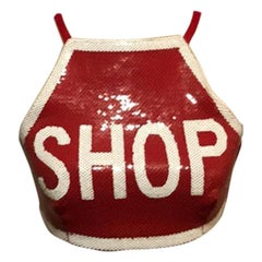 Moschino Couture Red Shop Stop Sign Top