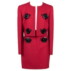 MOSCHINO COUTURE Red Wool Needle Motif Huge Buttons Jacket & Skirt Suit, c. 1989